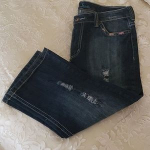 NWOT, Crop Distressed Jeans,  Size 10